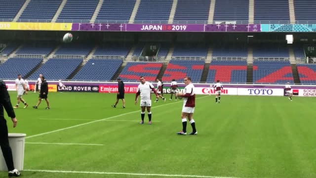 the england side have been put through their paces in the captain's run ahead of their rugby world cup semi-final against new zealand. eddie jones's... - tokyo bay stock videos & royalty-free footage