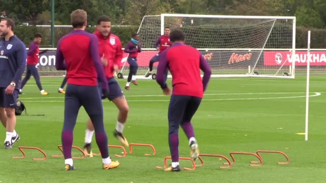 The England team train ahead of their World Cup qualifier match against Slovenia Players include Harry Kane Joe Hart Gary Cahill Marcus Rashford Dele...