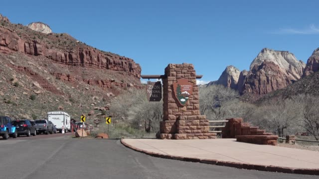 the entrance at zion national park, utah - zion national park stock videos & royalty-free footage