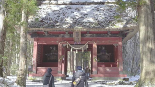 the entrance gate of togakushi shrine, nagano, japan - shinto shrine stock videos & royalty-free footage