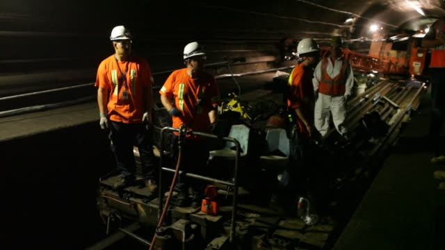 The entrance of the north tube of the North River Tunnel under the Hudson River on Thursday August 20 2015 Shots Close up shots of construction...