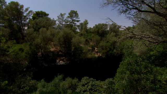 the entrance to a cave appears on the side of a hill. available in hd. - fensterbank stock-videos und b-roll-filmmaterial