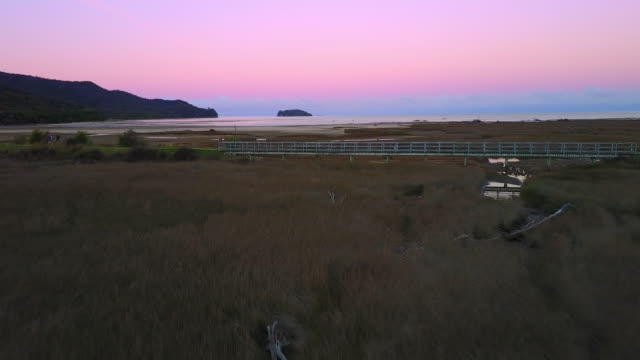 The entrance to the Able Tasman National Park at sunset.