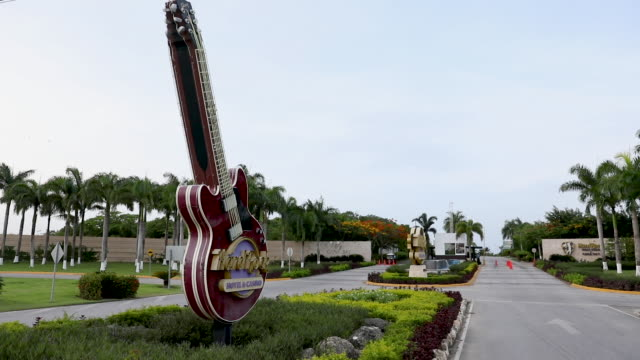 the entrance to the hard rock hotel casino is seen on june 20 2019 in punta cana dominican republic a tourist died unexpectedly after getting sick... - punta cana stock videos and b-roll footage