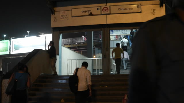The entry/ exit gate to the Chhatarpur metro station