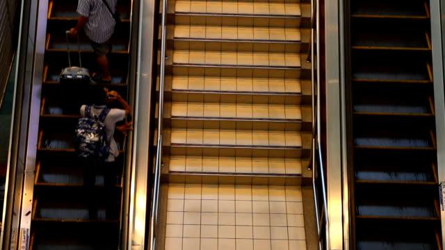 The escalator and passenger.