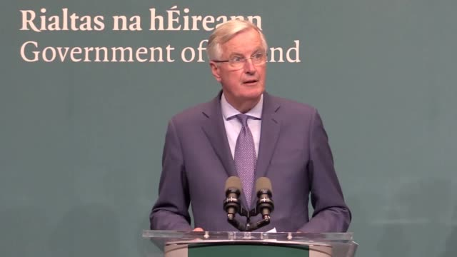 the eu chief negotiator says in the event of a nodeal brexit the eu's goal is to protect peace in ireland and the single market eu's chief brexit... - talking stock videos & royalty-free footage