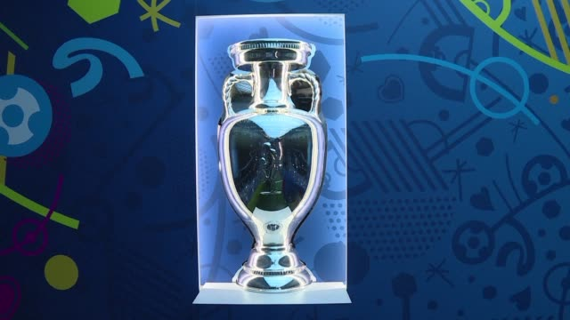 the euro 2016 trophy the henri delaunay cup is on display in paris on april 2-3 and will then tour twenty five cities in france before the tournament... - trophy stock videos & royalty-free footage