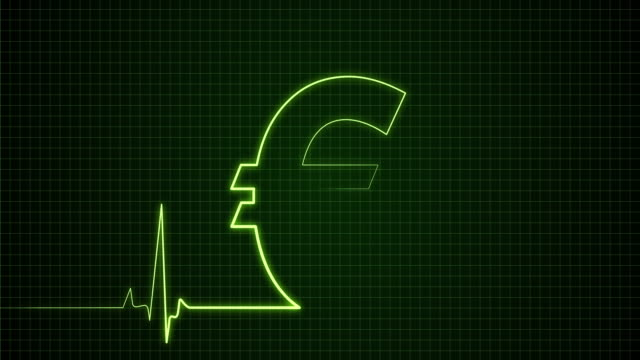 the euro sign on the pulse trace monitor | loopable - euro symbol stock videos & royalty-free footage