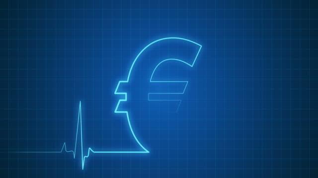 ユーロサインオン、心電図モニタ/ループ - 中央銀行点の映像素材/bロール
