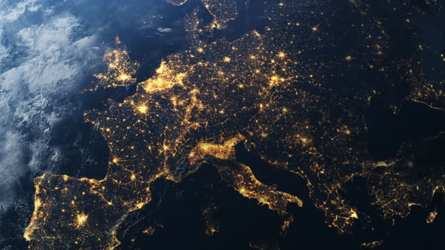 the european continent seen from space in 4k - city stock videos & royalty-free footage