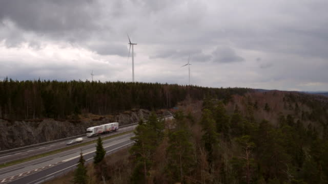 AERIAL: The European highway and wind turbines