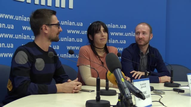 the eurovision song contest 2016 winner jamala attends a press conference and premiere for journalists her music video for the song 1944 in... - 61st eurovision song contest stock videos and b-roll footage