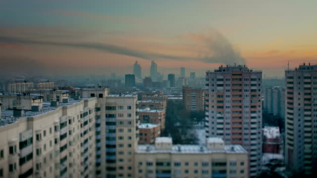 """TL The evening above view of the city. The """"Moscow-City"""" on the background / Russia, Moscow"""