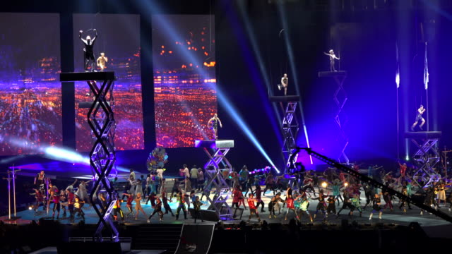 the event major performer was cirque du soleil which faced his largest and most complicated production the rogers centre had a sold out crowd the... - cirque du soleil stock videos & royalty-free footage