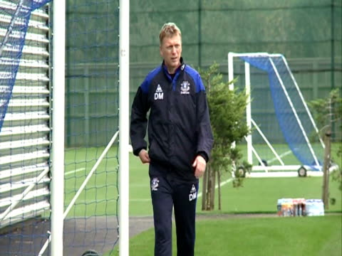 the Everton Manager and Head Coach with his team training at Finch Farm in October 2011 in Liverpool England