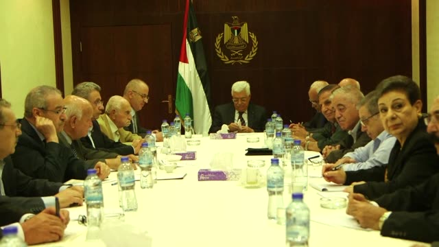 the executive committee of the palestine liberation organisation met on tuesday ahead of the palestine national council congress in ramallah - palestine liberation organisation stock videos & royalty-free footage