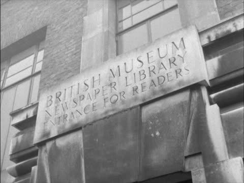 stockvideo's en b-roll-footage met the exterior of the british museum's newspaper library. - bbc archives