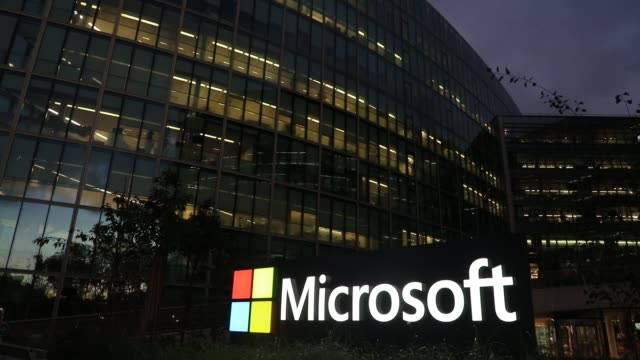 the exterior of the microsoft france head office building at dusk on october 15 in issy les moulineaux, france. with the approach of the us... - desktop pc stock videos & royalty-free footage