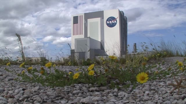 stockvideo's en b-roll-footage met the exterior of the nasa john f kennedy space center building is seen during the 2013 government shutdown in the us - united states and (politics or government)