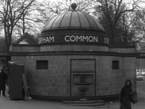 stockvideo's en b-roll-footage met the exteriors of clapham common russell square and st johns wood underground stations - wandsworth