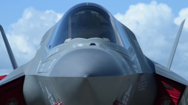 the f35b lightning ii aircraft arrived at us central command on macdill air force base fla april 4 2018 the purpose of the twoday visit was to inform... - aircraft canopy stock videos & royalty-free footage