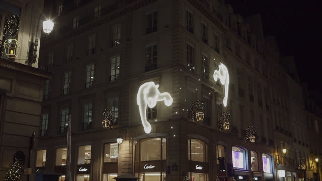 FRA: Christmas Lights And Decorations Are Displayed At The Cartier Boutique In Paris
