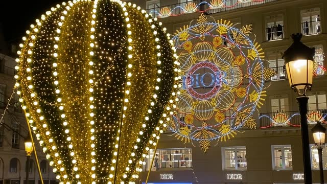 the facade of the christian dior boutique is illuminated for christmas and new year celebrations on november 21, 2020 in paris, france. - lighting technique stock videos & royalty-free footage
