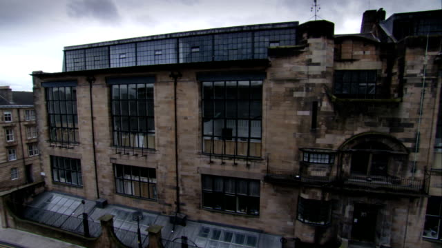 The facade of the Glasgow School of Art. Available in HD.