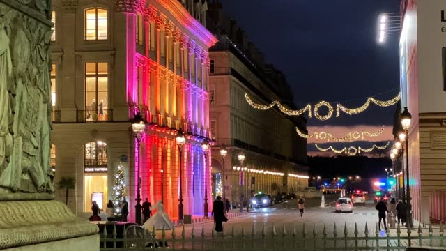 the facade of the louis vuitton boutique is illuminated for christmas and new year celebrations on november 21, 2020 in paris, france. - facade stock videos & royalty-free footage