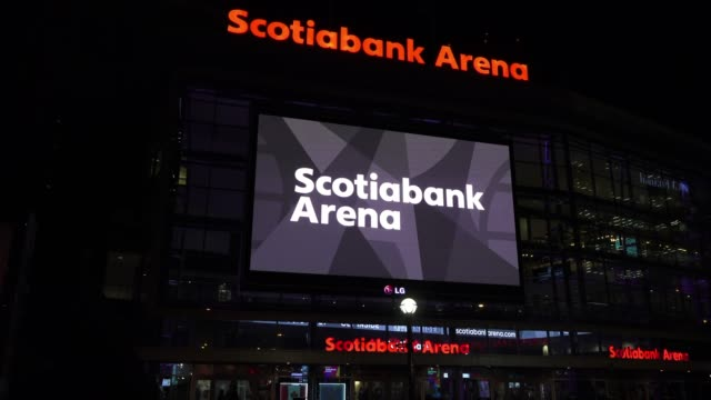 the facade of the scotiabank arena which is located in the downtown district of the canadian city capital of the province of ontario. the signs are... - large scale screen stock videos & royalty-free footage