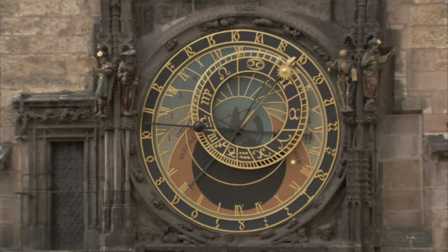 The faces of the Prague Orloj an astrological clock in Prague Czech Republic. Available in HD.