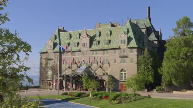 the fairmont le manoir richelieu in quebec prepares to host world leaders for the g7 meeting - quebec stock videos & royalty-free footage