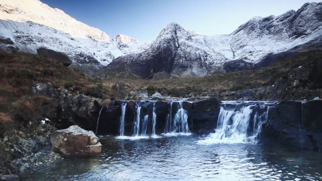 The Fairy Pools and Cuillin Hills in Winter, Isle of Skye.