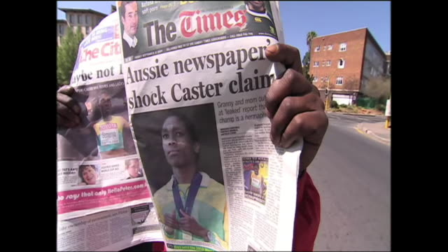 the family of caster semenya say they're angry at reports that tests have found the runner is technically an hermaphrodite the athlete was forced to... - ermafrodita video stock e b–roll