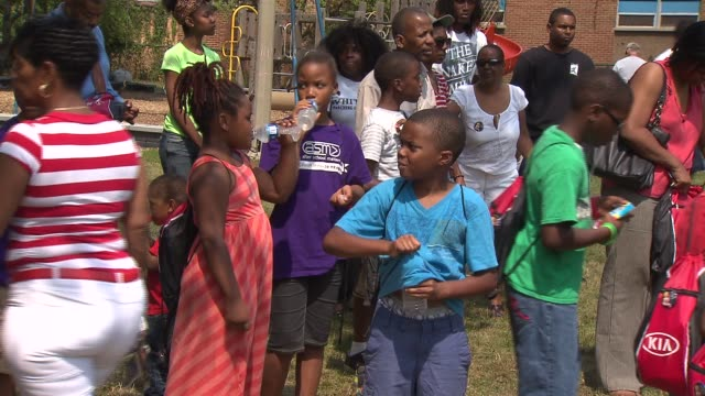 The family of Hadiya Pendleton who was murdered in January at the age of 15 passed out free backpacks filled with school supplies to 100 students...