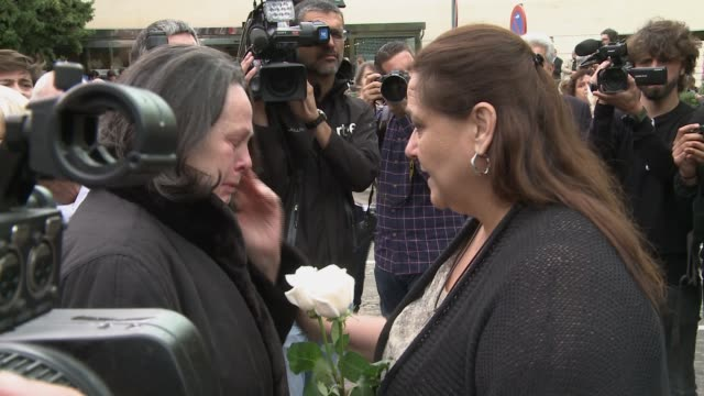 The family of Montserrat Caballé attend the funerals for Spanish opera singer Montserrat Caballe in Barcelona on October 8
