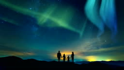 The family standing on a background of a city with a northern light. time lapse