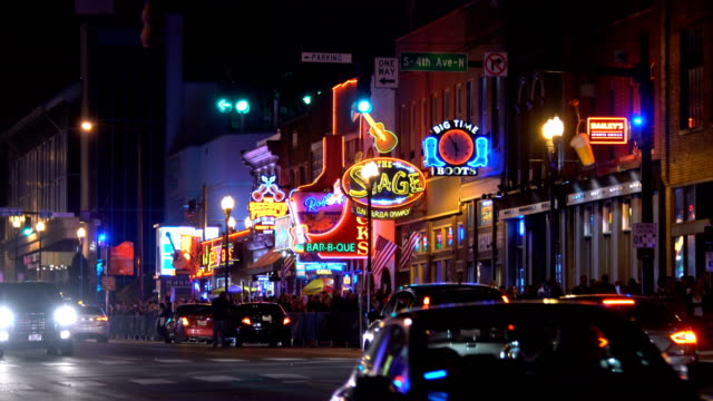 The famous Beale street with Neon signs of bars and pubs in Memphis, Tennessee