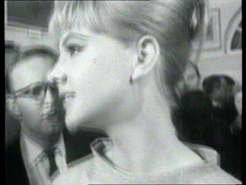 the famous faces collection tx mandy ricedavies drinks champagne london museum street galleries black and white footage of mandy ricedavis visiting... - mandy rice davies stock videos & royalty-free footage