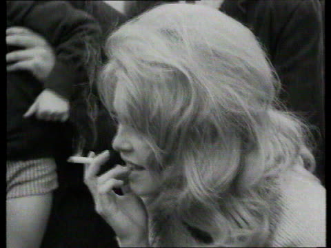 The Famous Faces collection TX French actress Bridgitte Bardot in London London Hampstead Black and white footage of French actress Brigitte Bardot...