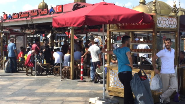 the famous fish sandwich stands in eminönü, istanbul, turkey - leaning stock videos and b-roll footage