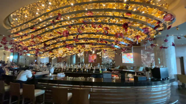 the famous grand lobby bar with a lamp resembling a ship in the moon palace cancun tourist resort on october 17, 2021 in cancun, quintana roo,... - electric lamp stock videos & royalty-free footage