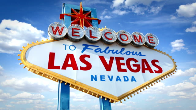 the famous las vegas sign, usa (2 shots) - las vegas stock videos & royalty-free footage