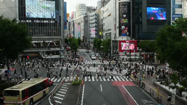the famous scramble intersection in shibuya, where pedestrians are allowed to cross simultaneously in any direction on july 29, 2021 in tokyo, japan.... - street name sign stock videos & royalty-free footage