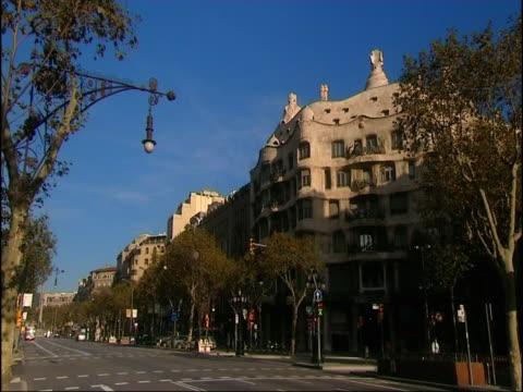 The famous Spanish architect Gaudi uses distinctive art on the Pedrera apartment complex.