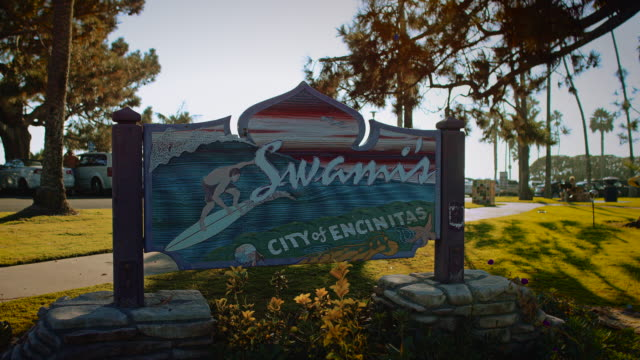 The famous Swamis sign, located in Encinitas, San Diego California. One of the greatest surf waves in Southern California!