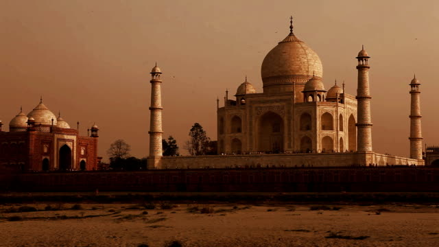 the famous taj mahal in agra, india - unesco world heritage site stock videos & royalty-free footage