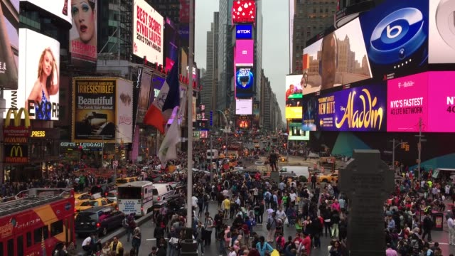 the famous times square in new york, usa - theatre district stock videos & royalty-free footage