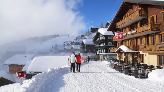 The famous village Bettmeralp in winter with Restaurants and ski lift. Bettmeralp, Canton Valais, Switzerland.